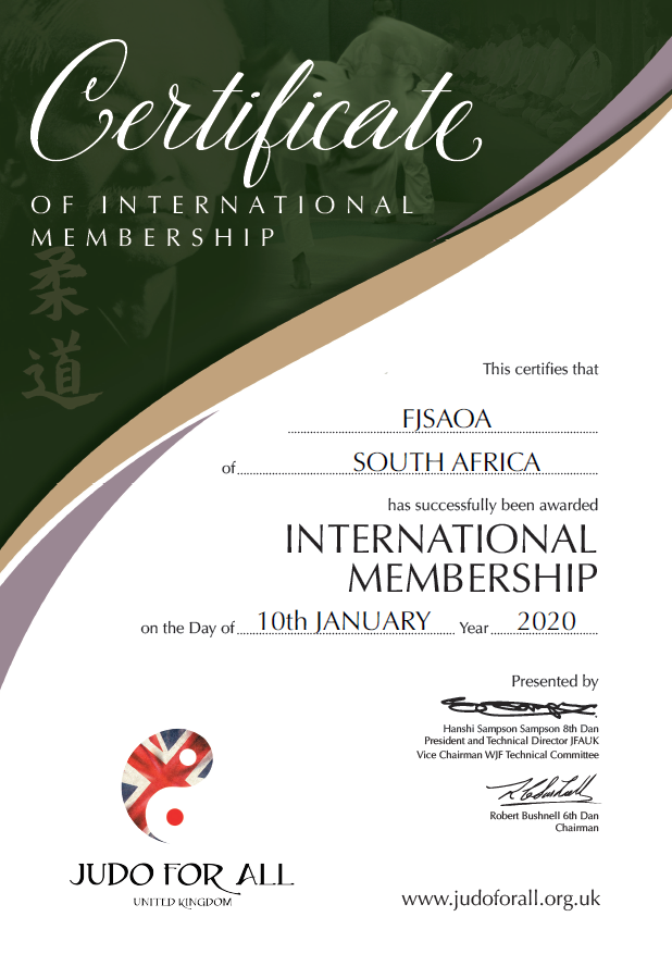 JFAUK Membership Cert.